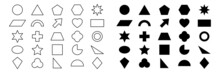 Geometric Shape Icon Set. Black Silhouette And Line Large Collection Basic Figures. Vector Isolated On White