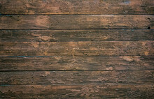 A Wooden Wall With An Aged Surface. Vintage Wall And Floor Made Of Darkened Wood, Realistic Plank Texture.