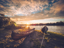 Boats At River Sunset Scenery