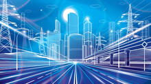 Wide Illuminated Highway. Train Rides. Modern Night Town. Traffic Neon Lights. Cars Motion. Infrastructure Outlines Illustration, Urban Scene. White Lines On Blue Background. Vector Design Art