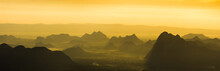 A Panoramic Beuatiful View Of Mountain Ridges With Morning Sky And Clouds At Phu Kra Dung National Park Of Thailand