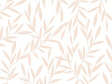 Vector Plant Pattern. Nude And Pink Leafs Stylish Floral Pattern. Pink Leafs On White Background Pattern.
