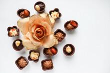 Set Of Chocolates Isolated On White Background