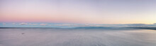 Horizon Over Water On The Large Volga River Aerial Panoramic View