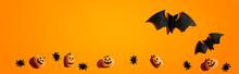 Halloween Paper Bats And Small Pumpkin Ghosts - Flat Lay