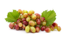 Green Grapes With Leaves.