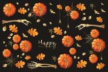 Halloween Collage With Pumpkins, Gossamers, Leaves, Bats And Hand Bones On The Dark Background, Hand-drawn.