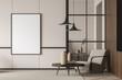 Leinwandbild Motiv Empty living room canvas near single beige armchair