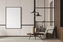 Empty Living Room Canvas Near Single Beige Armchair