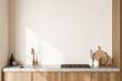 Leinwandbild Motiv Close view on bright kitchen room interior with white wall