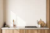 Close view on bright kitchen room interior with white wall