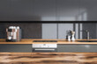 Leinwandbild Motiv Dark cozy kitchen room interior with good display for advertisement