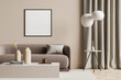 Leinwandbild Motiv Empty canvas in a beige living room with modern details