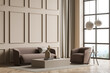 Modern panoramic beige living room with wall moulding