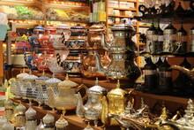 A Closeup Of Vintage Silver And Copper Teapots. Turkey , Grand Bazaar