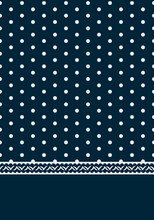 Polka Dot Border Print Seamless Repeat Pattern. Maritime, Nautic, Vector Illustration With Spots All Over Print Plus Trimming On The Bottom On Dark Blue Background.