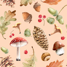 Autumn Seamless Pattern With Design Of Forest Plants Leaves, Cones And Mushrooms. Hand Painted Watercolor..