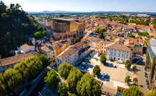 The Aerial View Of Orange, An Old Roman City In The Vaucluse Department In The Provence-Alpes-Côte D'Azur Region In Southeastern France