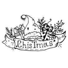 Doodle Gifts And A Sleeping Gnome On A Ribbon With The Inscription Christmas