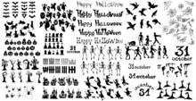 Big SET With Elements For The Holiday Halloween - Vector