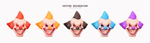 Set Clown Head With Wicked Smile On His Face. Realistic 3d Design. Element Decor For Holiday, Halloween, Birthday. Clown Of Different Colors Orange, Black, Red, Purple And Blue. Vector Illustration