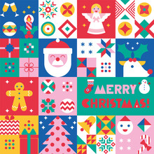 Christmas Background With Festive Simbols Santa, Deer, Christmas Tree, Gingerbread Man, Angel, Gifts, Snowflakes. Geometric Decorative Elements In Flat Style. Seamless Pattern, Ornament. Gift Wrap
