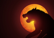 Werewolf Lurking In The Night During Full Moon