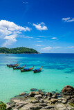 Beautiful Andaman sea, Tropical Turquoise clear blue sea on pattaya beach with blue sky background at Lipe Island, Satun, Thailand -  summer vacation travel