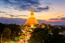 Evening Light In Phra Pathom Chedi Ceremony. Phra Pathom Chedi Is The Single Most Important Attraction In This Ancient Enclave.