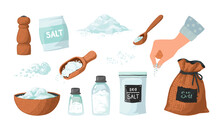 Hand Drawn Salt. Spice Powder In Spoon And Bowl. Hand Spreading Salty Sea Crystals. Seasoning In Glass Bottles And Packages. White Ground Heaps. Vector Cooking Ingredient Sketches Set