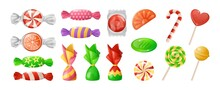Sweet Candies. Cartoon Lollipops And Bonbons Wrapped In Decorative Foil. Yummy Jelly Or Toffee. Isolated Gummy And Chocolate Desserts. Vector Christmas Hard And Chewy Confectioneries Set