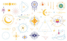 Wicca Occult Magic Witchcraft Flat Cartoon Icons Isolated Set. Vector Magical Signs, Evil Eye, Celestial Symbols Of Moon Phase. Esoteric, Spiritual Inspired Magician Mystical Gemstone Amulets