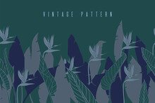 Horizontal Banner With Strelitzia Flowers And Leaves. Floral Seamless Texture With Bird Of Paradise Or Crane Flower. Vintage Dark Background. Silhouettes Of Tropical Plants.