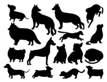 Set Of Dog Breeds Silhouettes Set In Various Poses.