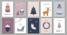 A Set Of Christmas Cards. Happy New Year. Gift Boxes, Santa Claus, Christmas Tree, Deer, Jingle Bells, Sled, Christmas Wreath, Stocking For Gifts. Vector Illustration