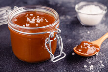 Glass Jar With Tasty Delicious Salted Caramel