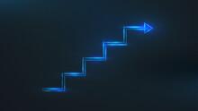 Blueline Step Stair With An Arrow. Business Growth Success Concept. Vector Illustration