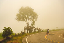 Tourists Standing In Viewpoint Of Phulankha National Park, Chaiyaphum, Thailand