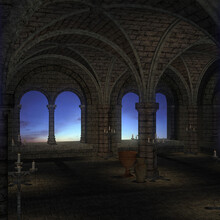 3d Illustration Of A Fantasy Cloister With A Colorful Sky Through Window