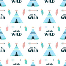 Seamless Pattern With Colored Wigwams, Vector Illustration