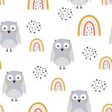 Seamless Pattern With Cute Owl And Rainbows