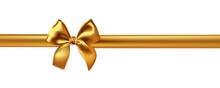 Realistic Gold Bow And Ribbon Isolated On Whive Background.
