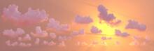 Panoramic Cumulus Clouds Sundown With Sun Rays , Creative Nature 3D Rendering