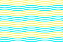 Seamless Blue And Yellow Waves Of Optical Illusion Pattern, For Fabric Printing And Packaging