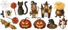 Watercolor Illustration, Watercolor Clip Art Set. Halloween.