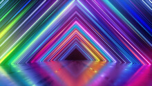 3d Render, Abstract Geometric Neon Background With Colorful Lines, Glowing In Ultraviolet Spectrum