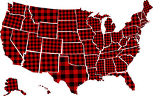 Buffalo Plaid States Vector Illustration. USA Map Design