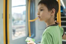 6 Year Old Mixed Race Boy Rides On A Sydney City Train