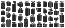 Christmas Of Gift Box Vector Black Set Icon. Isolated Black Icon Christmas And Holiday Box.Vector Illustration Xmas Gift And Surprise On White Background .