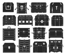 Chest Box Isolated Black Set Icon. Vector Black Set Icon Coffer. Vector Illustration Chest Box On White Background.